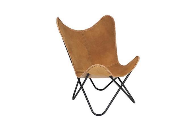 "Argus Suede Leather Butterfly Chair, $249.90, [Matt Blatt](https://www.mattblatt.com.au/mb/buy/fab-habitat-argus-suede-leather-butterfly-chair-btrchargus00000/|target=""_blank""|rel=""nofollow"")"