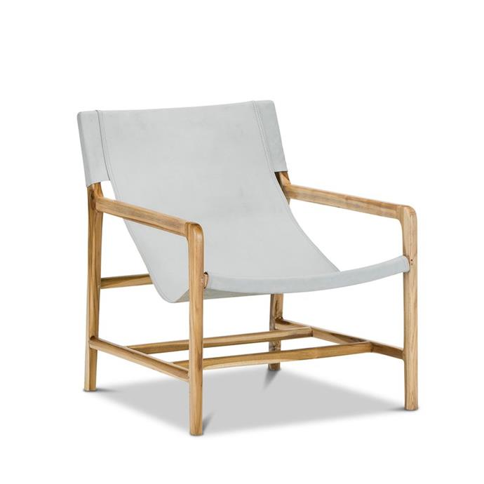 "Norah Teak & Light Grey Leather Sling Armchair, $640, [Bunnings](https://www.bunnings.com.au/norah-teak-light-grey-leather-sling-armchair_p0183728|target=""_blank""|rel=""nofollow"")"