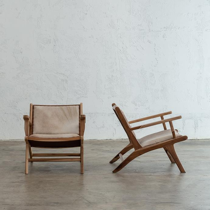 "Mala Armchair | Salt & Pepper Brown Leather Hide, $599, [Living by Design](https://livingbydesign.net.au/products/mala-arm-chair-salt-pepper-brown-hide-leather?variant=29069613858929&currency=AUD&gclid=CjwKCAjw_LL2BRAkEiwAv2Y3STFhteWQlDivzFziNrjl3KDKucR1WNPOEgWru9eqgl-pkRhstqsg2hoCe68QAvD_BwE|target=""_blank""|rel=""nofollow"")"