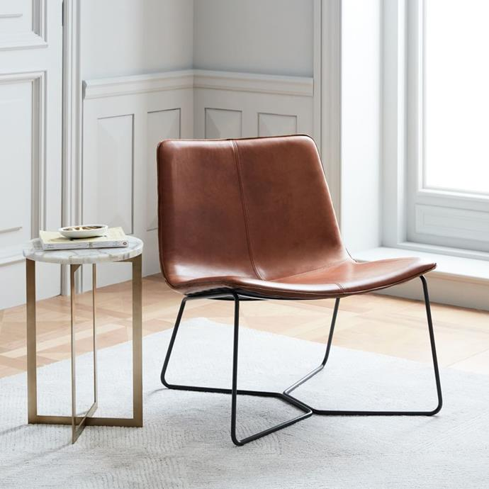 """Slope Leather Lounge Chair in Saddle, $899, [West Elm](https://www.westelm.com.au/slope-leather-lounge-chair-h2965