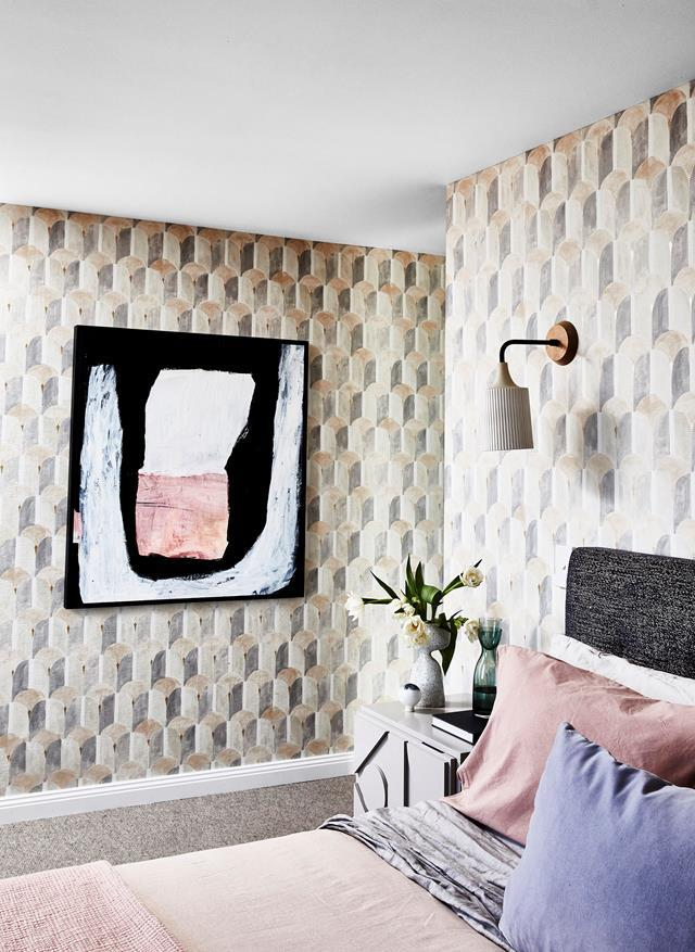 "Sophie Bowers of Strutt Studios collaborated with stylist Jono Fleming on his parents' home renovation. Bold patterns and textures on the walls elevate the [colourful penthouse](https://www.homestolove.com.au/colourful-penthouse-apartment-with-personality-20466|target=""_blank"") to another level."