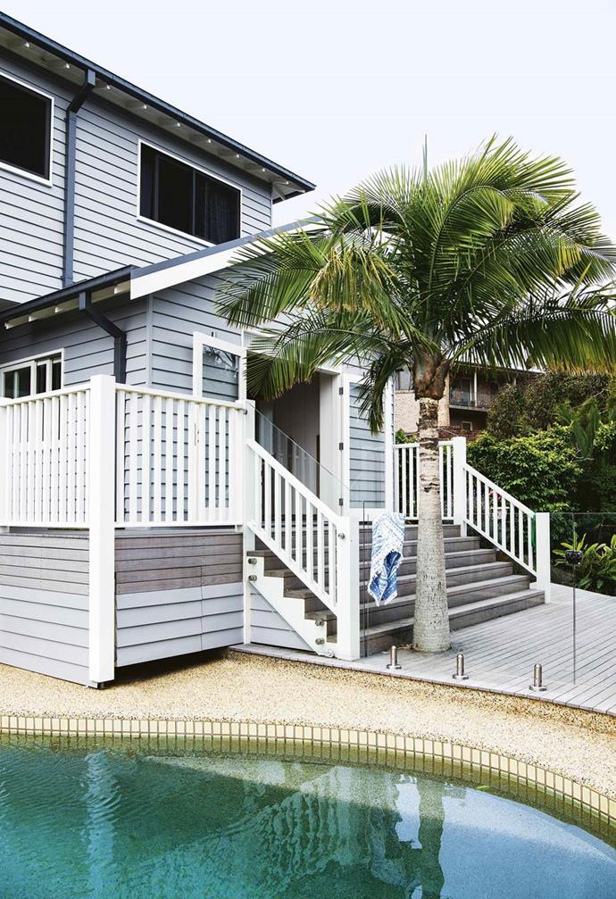 "Cleverly designed decking ensures this [modern weatherboard house in Freshwater](https://www.homestolove.com.au/eco-friendly-weatherboard-house-freshwater-17440|target=""_blank"") looks directly over the pool, giving this space a resort vibe."