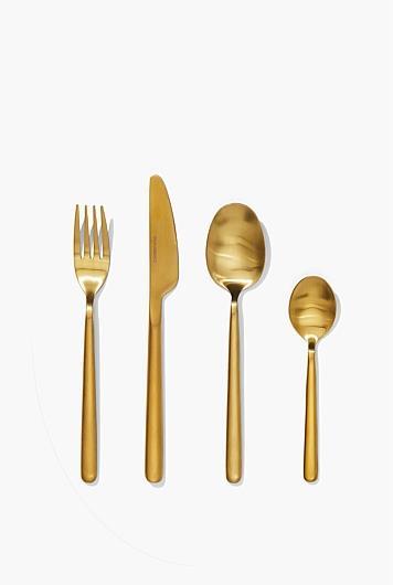 "Nolan Gold 16 Piece Cutlery Set, $179, [Country Road](https://www.countryroad.com.au/Product/60219570/?colour=Gold&size=No-Size&scd=true&gclsrc=aw.ds&&gclid=Cj0KCQjwn7j2BRDrARIsAHJkxmwzBfqSdeg98Fjvn0pac4cYwjoU761YQJIzWLFVtDThjIStoSbw16QaAso-EALw_wcB&gclsrc=aw.ds|target=""_blank""|rel=""nofollow"")"