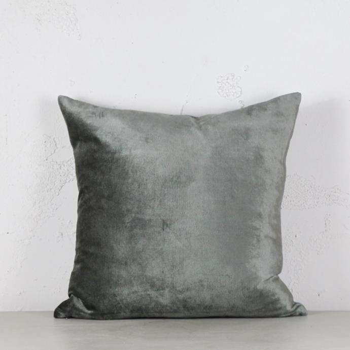 "Precious Metallic Velvet Cushion in Pewter, 50x50cm, $99.99, [Living by Design](https://livingbydesign.net.au/products/precious-metallic-velvet-cushion-pewter-50x50cm?_pos=2&_sid=2d7edd743&_ss=r|target=""_blank""|rel=""nofollow"")"