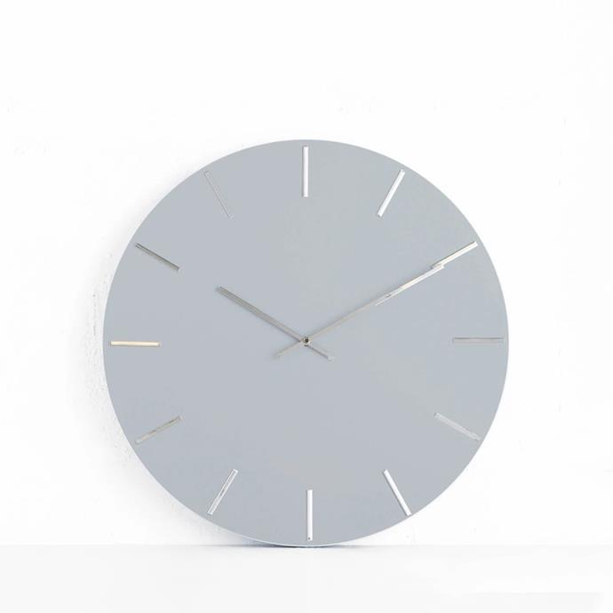 "One Six Eight London, Luca Wall Clock, light grey, $79.99, [Living by Design](https://livingbydesign.net.au/products/one-six-eight-london-luca-wall-clock-light-grey-40cm?_pos=11&_sid=2d7edd743&_ss=r|target=""_blank""|rel=""nofollow"")"