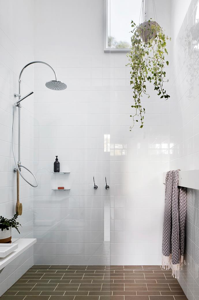 There is one bathroom in the converted milking shed. White tiles from National Tiles. City Plus Exposed shower set from Brodware.