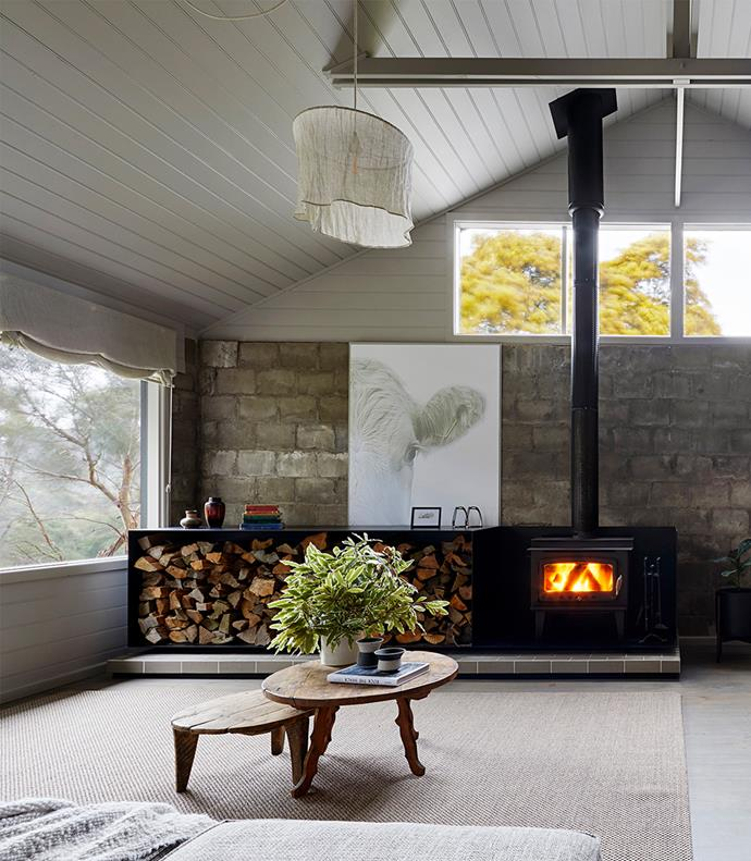 The fireplace was already in the house and was just cleaned up — for a similar style, try Jetmaster Fireplaces.