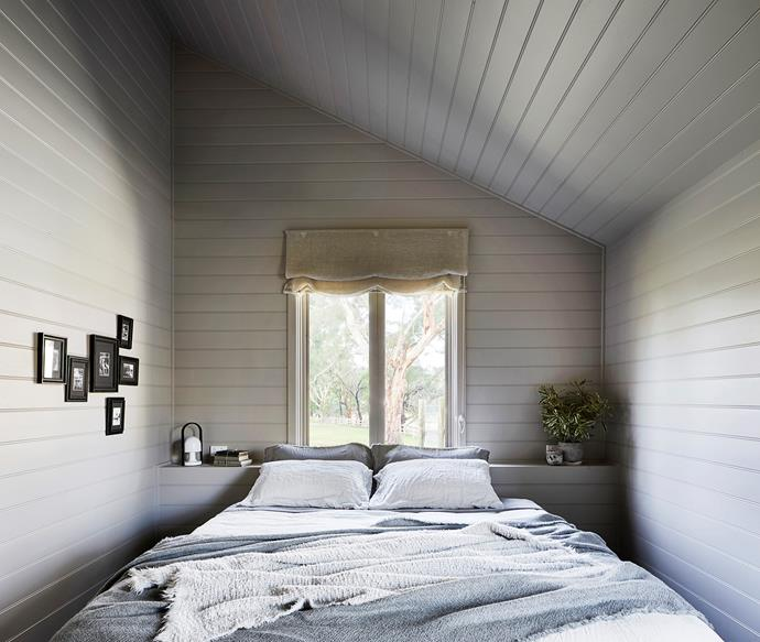 The main bedroom looks out onto a paddock. Bedlinen is from Society Limonta and the throw from Ondene.