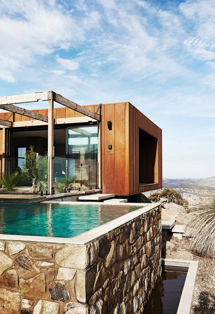 **Pool** The house is on one of the area's high points and inspired by its rugged terrain at the edge of the Strathbogie Ranges, within the Great Dividing Range. Cladding the pool is local granite sourced by the owners. Landscaping by Phillip Johnson.