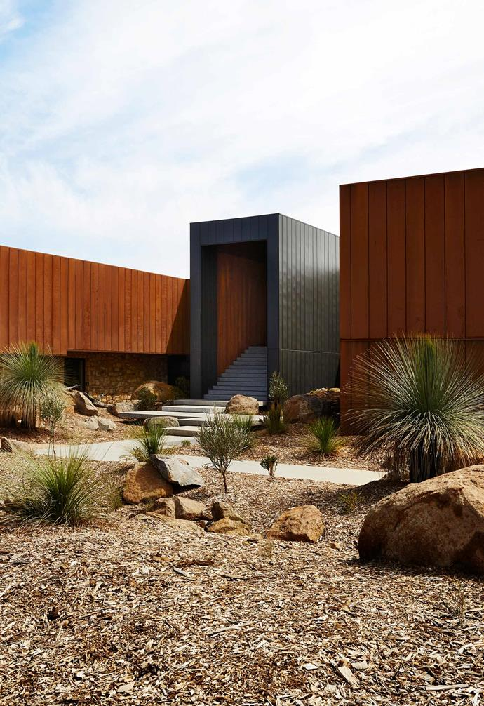 **Exterior** The two wings of the home are clad in Corten steel while the entry 'block' is faced with zinc. Both are very low maintenance.