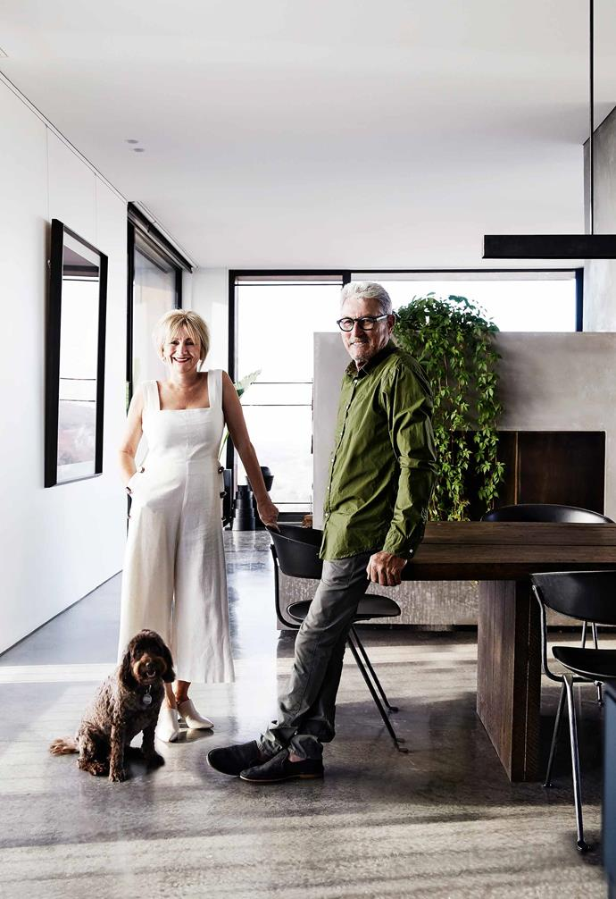 """**Dining area** Dot, Eddie and Coco in their impressive open-plan living space. All the internal walls, ceilings, doors and trims are painted [Dulux](https://www.dulux.com.au/