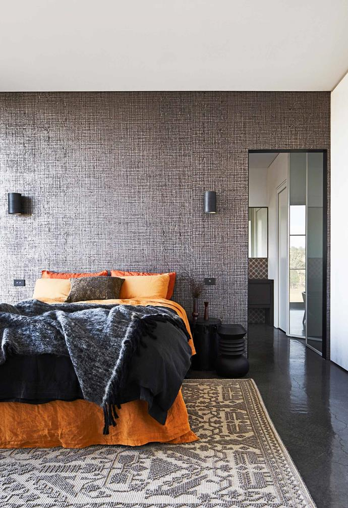 """**Guest room** There's plenty of space for friends and family to stay over. Behind the bed is a textured wallpaper called Mayfair (in Duke) from [Instyle](https://instyle.com.au/