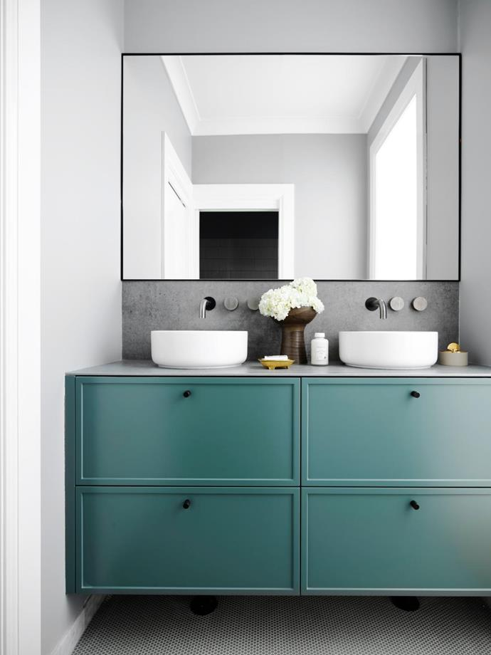 Custom vanity designed by Lynne, made by Kastell Kitchens. Cabinetry painted Dulux Jiping. Margot basins and Milli Pure tapware, Reece.