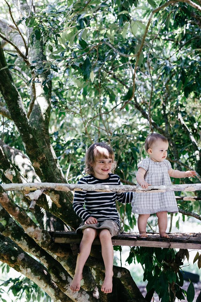 Five-year-old Bonnie and Freya, 20 months, enjoy life surrounded by nature in the Sunshine Coast's hinterland.