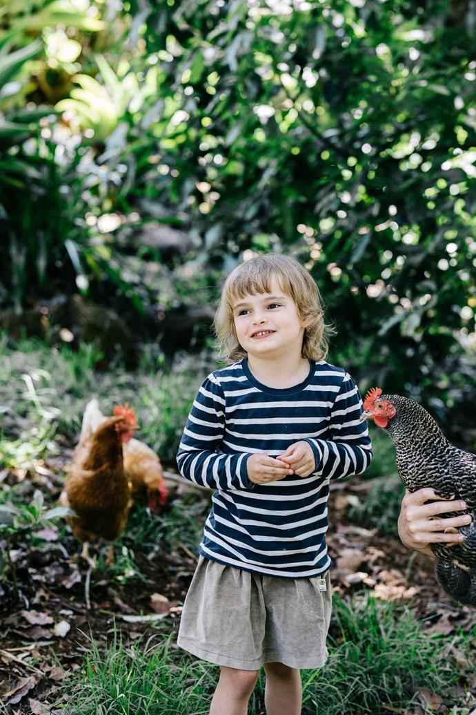 Bonnie and some of the family's chickens.