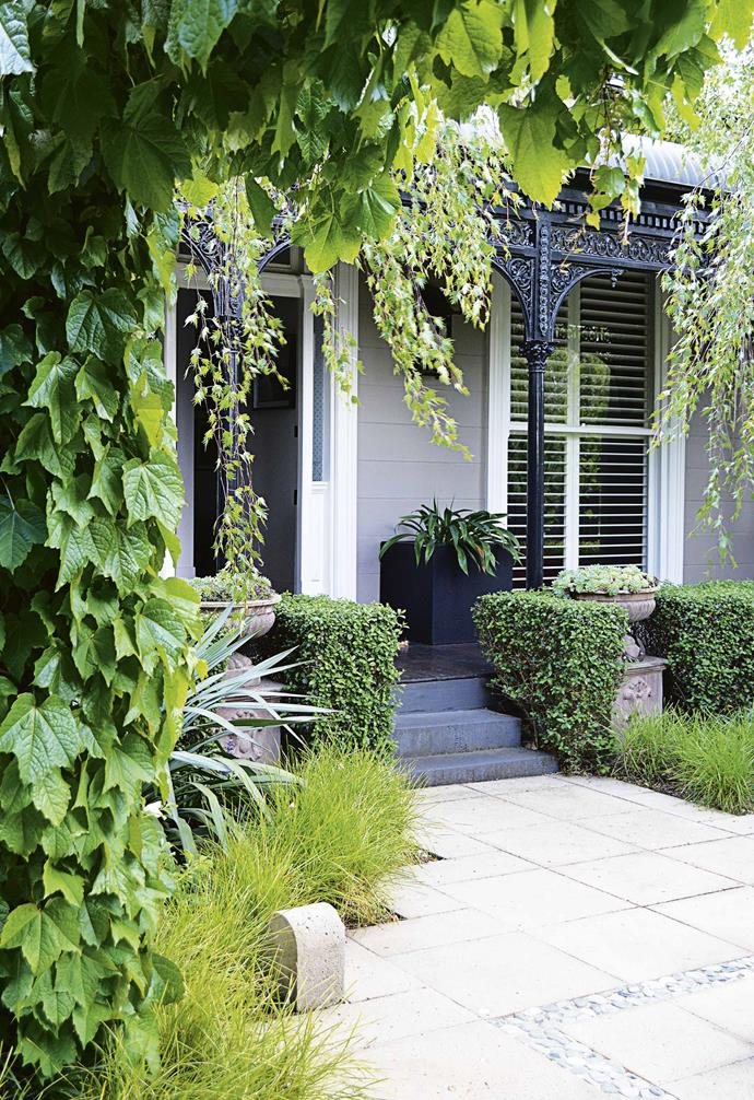 "[Hedges](https://www.homestolove.com.au/how-to-grow-a-hedge-9576|target=""_blank"") work well to cover blank or unattractive walls while also adding a refined border and adding privacy between spaces."