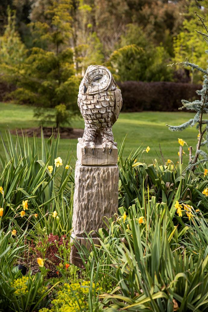 Onslow the Owl by Melbourne-based chainsaw carver Angie Polglaze keeps a watchful eye.