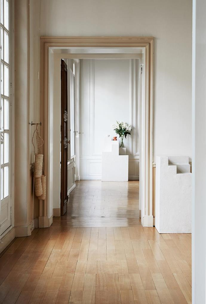 "Harwood floors in [Australian jewellery Designer Lucy Folk's Paris apartment](https://www.homestolove.com.au/lucy-folk-paris-apartment-6544|target=""_blank"") 