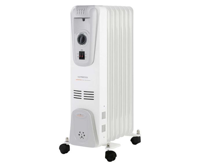"Kambrook 7 Fin Oil Column Heater, $79.95, [Myer](https://www.myer.com.au/p/kambrook-7-fin-oil-column-heater-white|target=""_blank""|rel=""nofollow"")."