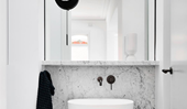 A timeless black and white bathroom design