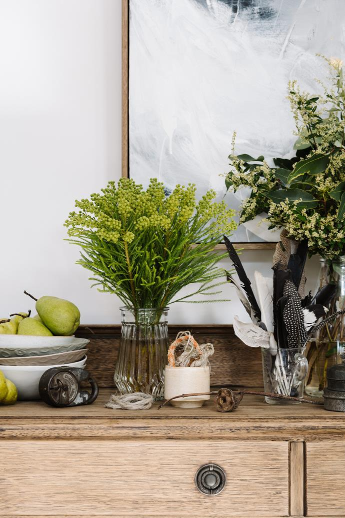Collections of natural objects occur throughout Tanya Cain-Abbs' home. On this sideboard are bowls by her friend, Perth ceramicist Melanie Sharpham.