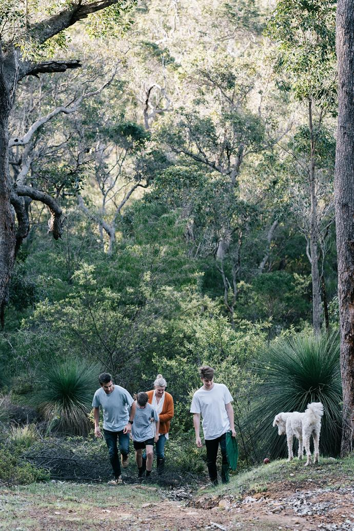 Duncan, Ollie, Tanya, Lucas and Maisy in their magical bushland setting.