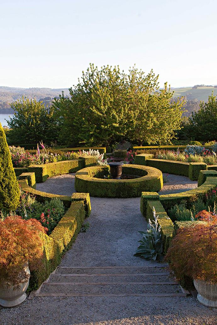"""The top level of Philip Hunter and David Musker's [terraced garden](https://www.homestolove.com.au/tiered-slope-garden-13887
