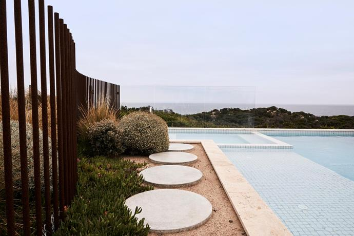 Pool by Pop Building. Pool mosaics, The Pool Tile Company. Travertine coping by KHD Stone Merchants. Steppers, Hungry Wolf. Fence designed by Zenibaker Architects.