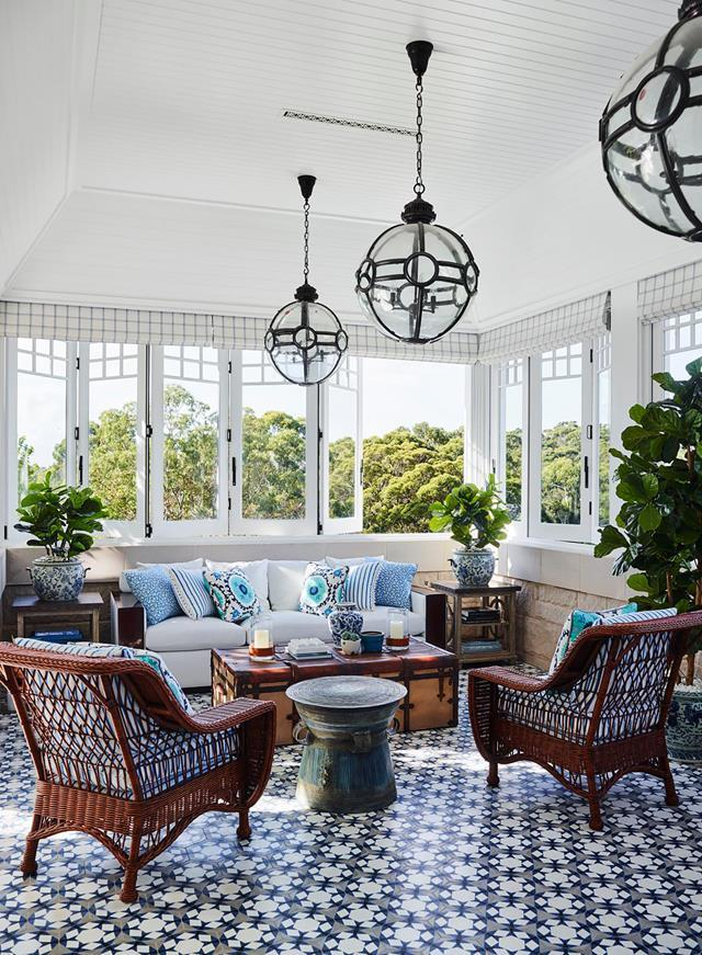 "Greg Natale is known for creating spaces of a more intimate scale for family moments and me-time. He achieves this through his trademark use of pattern. This elegant [Hamptons-style home's](https://www.homestolove.com.au/hamptons-style-house-inspired-by-a-hollywood-film-20806|target=""_blank"") winter terrace features Greg Natale 'Corsica' custom floor tiles from Teranova."