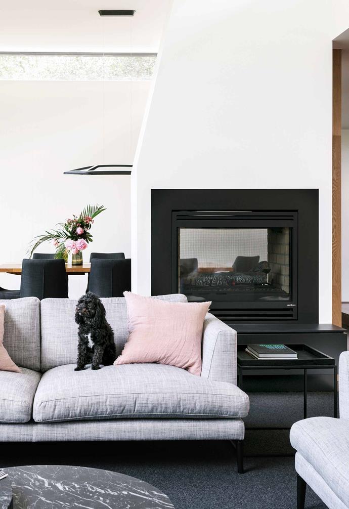 **Living room** Pooch Lulu Rose on the Felix sofa by [Arthur G](http://www.arthurg.com.au/). Elle marble nest of coffee tables, [GlobeWest](https://www.globewest.com.au/). Heat & Glo fireplace.