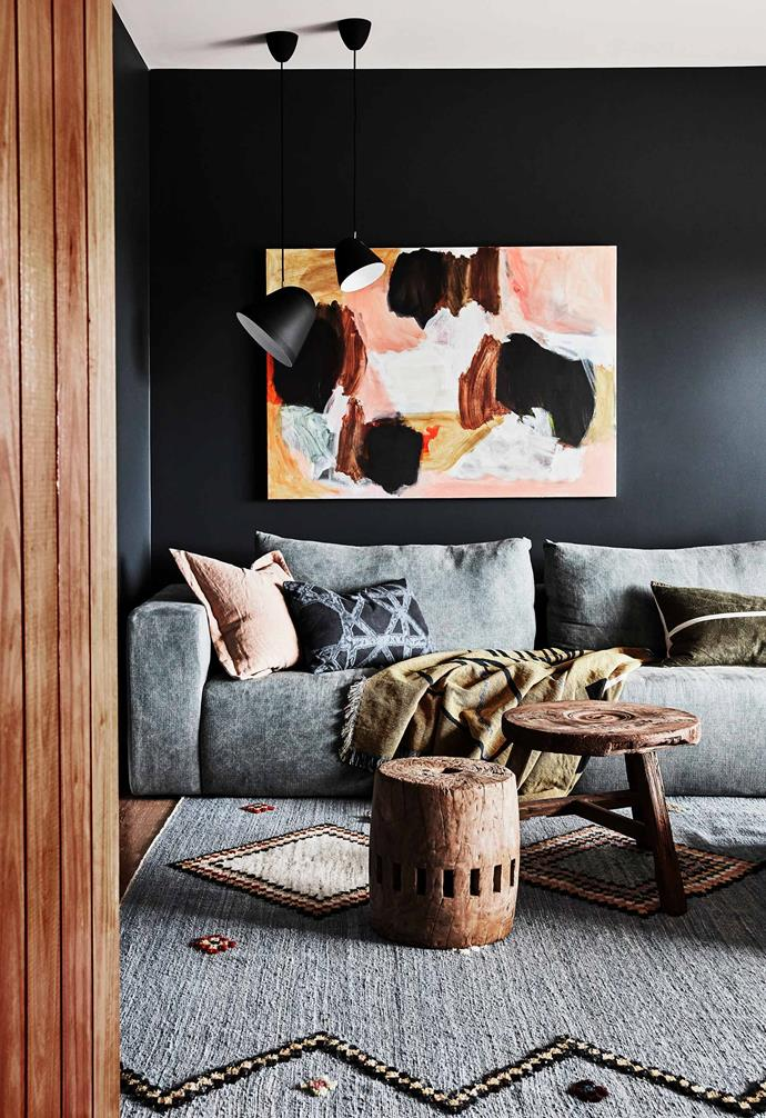 "**Media room** The walls of this cosy space are [Porter's Paints](https://www.porterspaints.com/|target=""_blank""