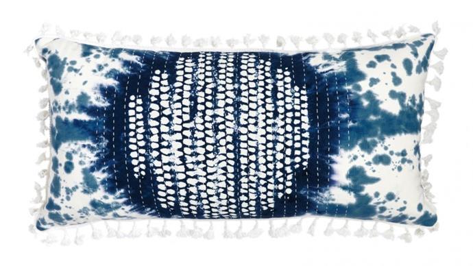 "Tamara Blue 70x30cm Cushion, $41, [Domayne](https://www.domayne.com.au/tamara-blue-70x30cm-cushion.html|target=""_blank""|rel=""nofollow"")"