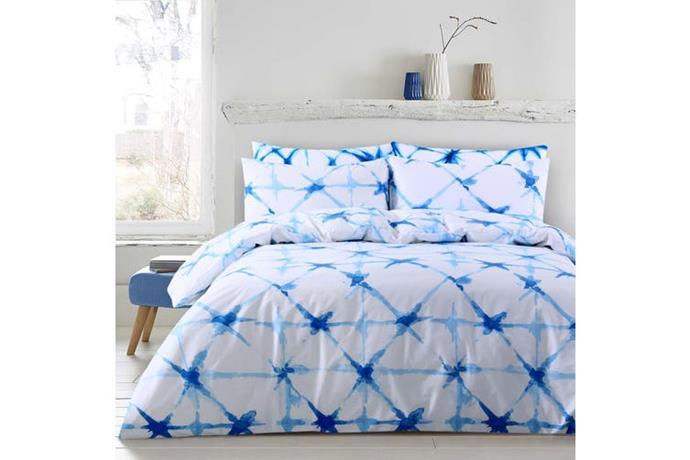 "Dreamaker Shibori Printed quilt cover set Super King Bed Faded Crosses, $79, [Dick Smith](https://www.dicksmith.com.au/da/buy/decor_innovations-dreamaker-shibori-printed-quilt-cover-set-super-king-bed-faded-crosses-9010377/|target=""_blank""|rel=""nofollow"")"