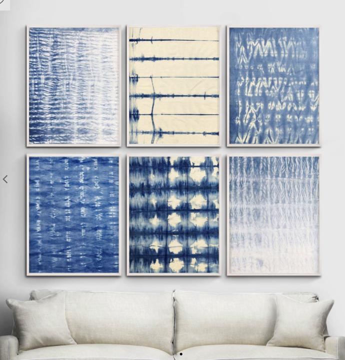 "Natural Curiosities Shibori Blue 4 Wall Art, $1660, [Coco Republic](https://www.cocorepublic.com.au/shibori-blue-4-wall-art-7519|target=""_blank""|rel=""nofollow"")"