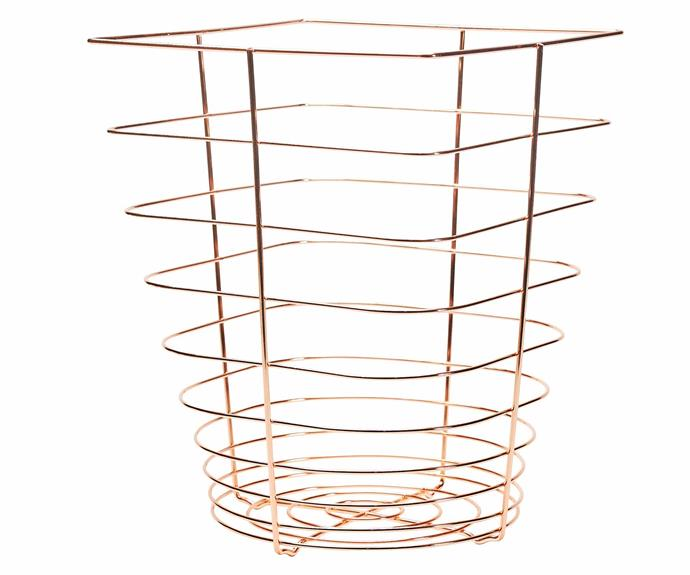 "Trash paper basket, $55, [Bendo](https://www.bendo.com.au/|target=""_blank""|rel=""nofollow"")."