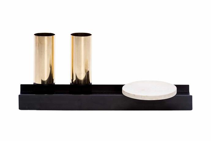 "Linea brass cups and marble dish caddy, from $97.90, [Pen](http://www.madebypen.com/|target=""_blank""