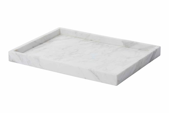 "Home Republic 'Eastside' marble tray, $64.99, [Adairs](https://www.adairs.com.au/|target=""_blank""