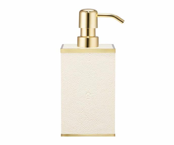 "Classic Shagreen soap dispenser, $450, [Aerin](https://www.aerin.com/|target=""_blank""|rel=""nofollow"")."