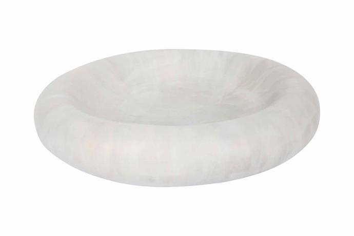 "Resin mother of pearl dish in Sandy Pearl, $120, [Dinosaur Designs](https://www.dinosaurdesigns.com.au/|target=""_blank""|rel=""nofollow"")."