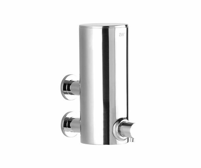 "Icon 'a69.53.v4.01' wall-mounted soap dispenser in Brushed Platinum, $387.20, [Astra Walker](https://www.astrawalker.com.au/|target=""_blank""|rel=""nofollow"")."