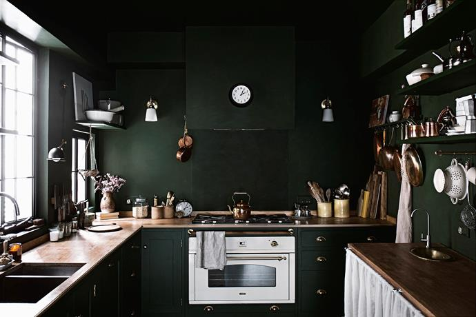 The kitchen joinery, benchtops, pantry cupboard and sink (opposite) are custom made. The oven is from Ilve and the stovetop is made by Bertazzoni.