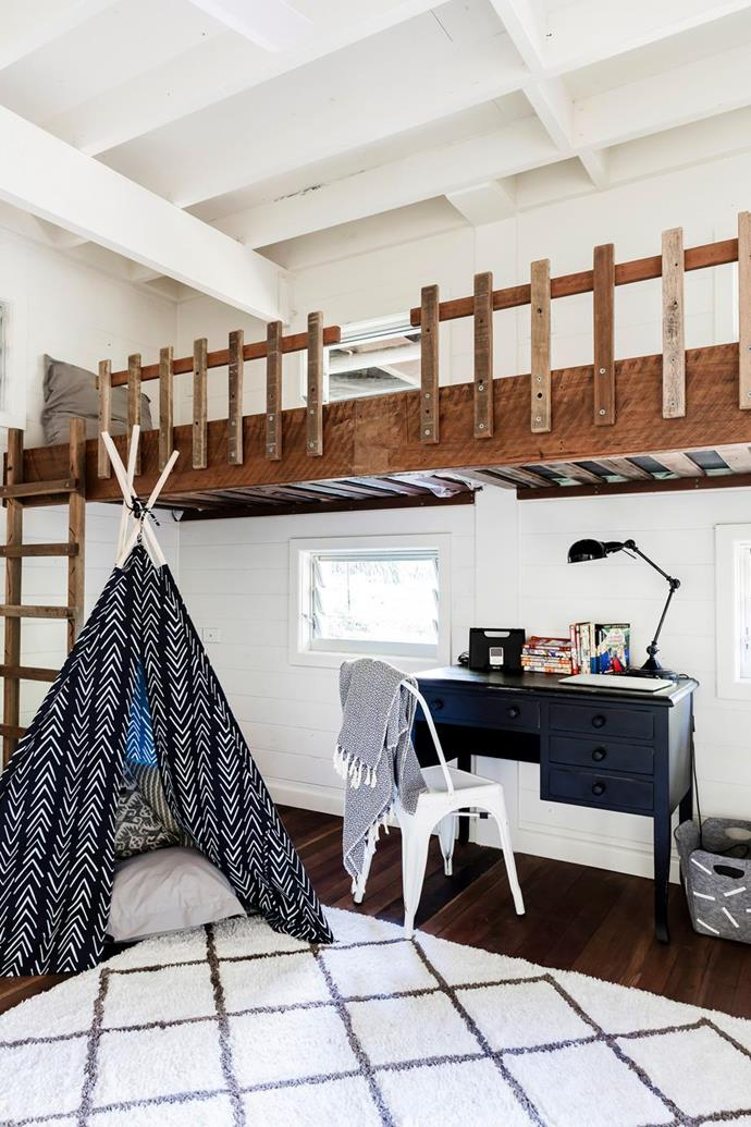 "Tight for space? Why not go up! This loft bed certainly maximises space and leaves more floor area free for homework and play in this [newly built home in the Currumbin Valley](https://www.homestolove.com.au/newly-built-cedar-and-steel-home-in-the-currumbin-valley-6764|target=""_blank"")."