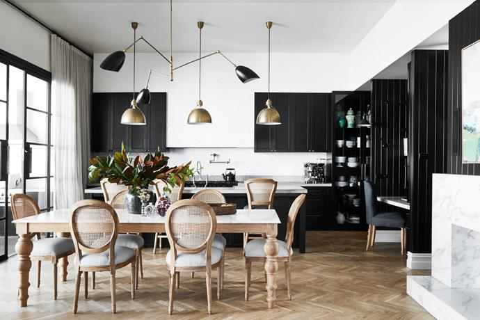 Custom dining chairs. Oak floorboards, Market Timbers. Pendant lights, both Bloomingdales 