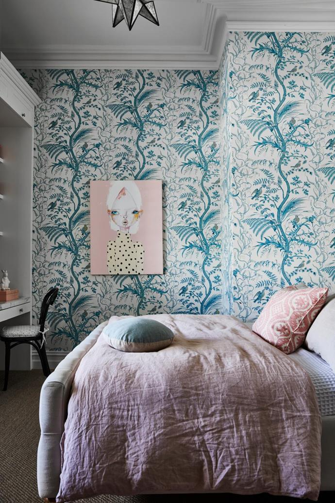 Artwork by Sarah Winfield. Bird and Thistle wallpaper by Brunschwig & Fils.