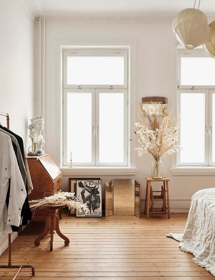"""Every piece of furniture and lighting in the bedroom of this [Swedish apartment](https://www.homestolove.com.au/art-nouveau-home-21503