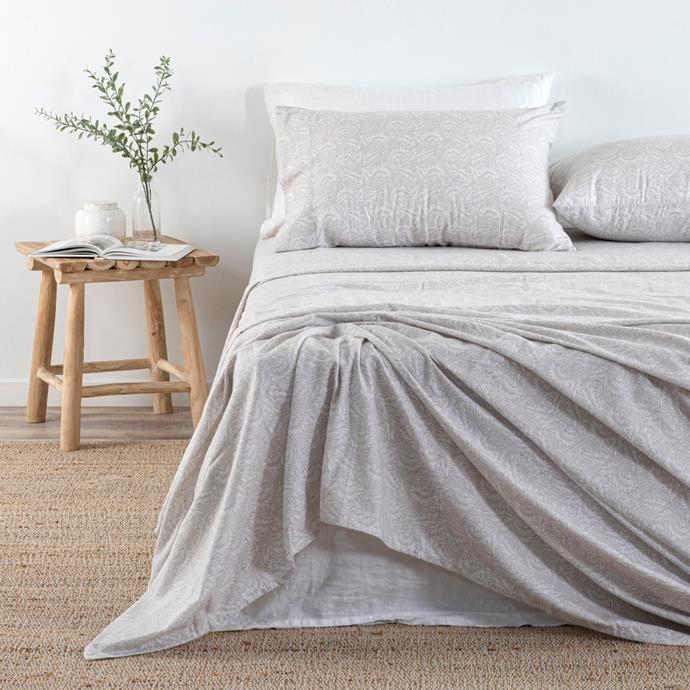 "HABITAT Printed Flannelette sheet set, from $79.95 - $139.95, [Pillow Talk](https://www.pillowtalk.com.au/pillowtalk/en/Categories/Bedroom/Bed-Sheets/Melange-Flannelette-Sheet-Set/p/HABBMELAN19|target=""_blank""|rel=""nofollow"")"