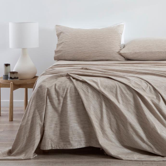 "Melange Flannelette Sheet Set in Natural, from $79.95 - $129.95, [Pillow Talk](https://www.pillowtalk.com.au/pillowtalk/en/Categories/Bedroom/Bed-Sheets/Melange-Flannelette-Sheet-Set/p/HABBMELAN19?sc_src=email_1607101&sc_lid=107842748&sc_uid=1O0xmyfHcv&sc_llid=50571&sc_eh=fde1f4a4f5379c201&utm_medium=email&utm_campaign=Autumn+Collection-eDM320190505&utm_source=Autumn+Collection-eDM320190505&utm_content=IMAGE+md_625526.jpg_|target=""_blank""|rel=""nofollow"")"