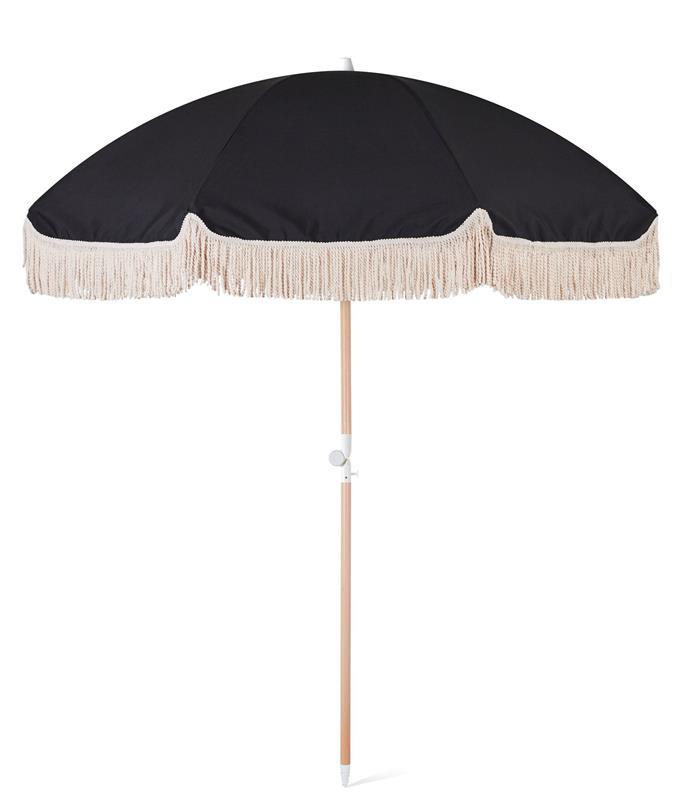 "Black Rock Beach Umbrella, $249, [Sunday Supply](https://sundaysupply.co/collections/beach-umbrellas/products/black-rock-beach-umbrella|target=""_blank""|rel=""nofollow"")"