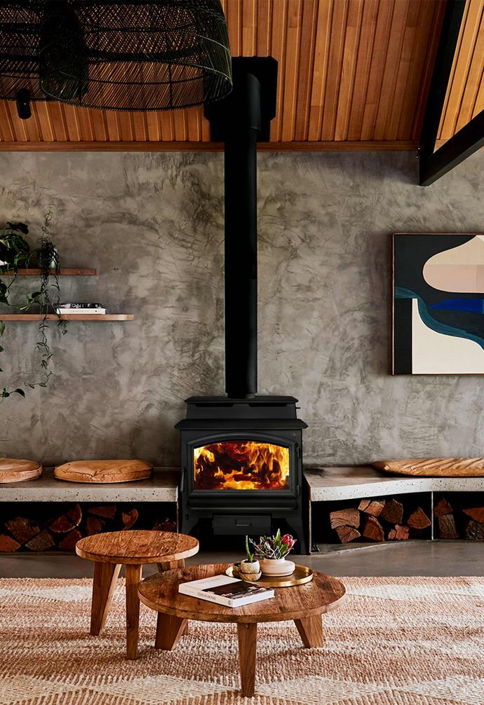 "A chic fireplace will be the centre of attention in any room just like this one in the incredible [Lon Retreat](https://lonretreat.com.au/|target=""_blank""
