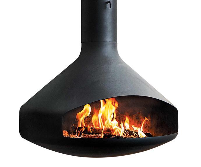"Ergofocus suspended wood fire, $14,510, [Oblica](https://oblica.com.au/|target=""_blank""|rel=""nofollow"")."